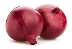 Red onions. On white background stock images