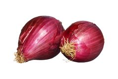 Red onions on white background Stock Image