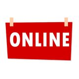 Red Online Sign - illustration on white background Stock Photography