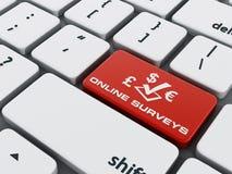 Red online surveys key on keyboard Royalty Free Stock Photo