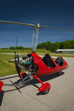 Red open-cockpit autogyro Stock Photo