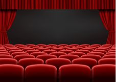 Red open curtain with seats in theater. Velvet fabric cinema curtain vector. Opened curtains and sea royalty free illustration