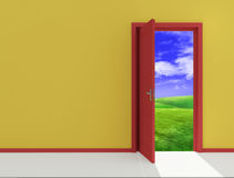 Red open door on field. Door on juicy green glade clear daytime Royalty Free Stock Photo