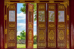 Red open doors, Vietnam Stock Photography