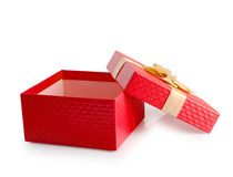 Red open empty gift box clipping path. Royalty Free Stock Photos