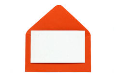 Red open envelope with blank card Stock Image