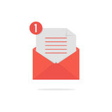 Red open envelope with check list and shadow Stock Images