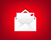 Red open envelope with love card inside  on red background. Vector illustration Stock Photos