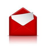 Red open envelope with paper Stock Photos
