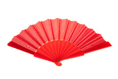 Red Open Hand Fan Isolated on a White Royalty Free Stock Images