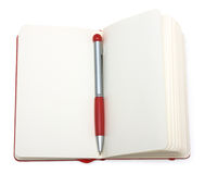 Red open notepad (paper) with pen. Isolated on white background Royalty Free Stock Photography