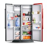 Red Open Refrigerator With Products. Open refrigerator with two red and black doors full of fresh products in realistic style isolated vector illustration stock illustration