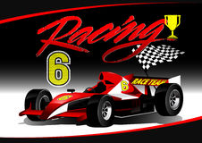 Red open wheel racing car with trophy Royalty Free Stock Photos