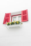 Red Open Window. Red open window with white wall Royalty Free Stock Image