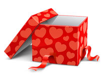 Red Opened Cardboard Box With Hearts Stock Image