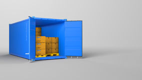 Red opened container and many of carton boxes on a pallet,  on white background Royalty Free Stock Photos