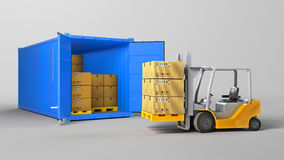 Red opened container and many of carton boxes on a pallet,  on white background Stock Photo