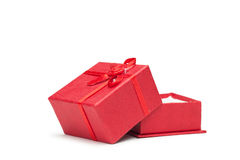 Red opened present box. Isolated over white Stock Photos