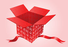 Red opened present box with hearts Stock Photos