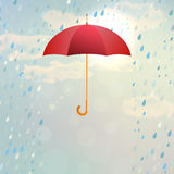 Red opened umbrella with rain Royalty Free Stock Photography