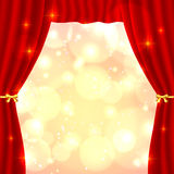 Red opened vector theatrical curtain Stock Images