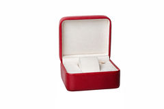 Red opened watch box Royalty Free Stock Photo