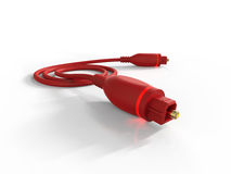 Red optical fiber cable Royalty Free Stock Images