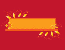 Red orange abstract flower banner. Red background with orange and yellow abstract flower design royalty free illustration