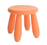 Red or orange baby plastic stool isolated on white Stock Photo