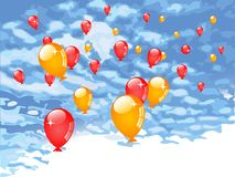 Red and orange balloons Stock Image