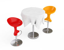 Red and Orange Bar Modern Stools with Table covered Tablecloth. Red and Orange Bar Modern Stools with Table covered Tablecloth on a white background. 3d Royalty Free Stock Photography