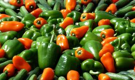 Red and Orange Bell Pepper Royalty Free Stock Images