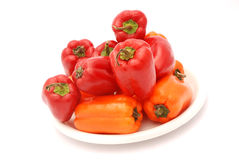 Red and orange bell peppers Royalty Free Stock Photography