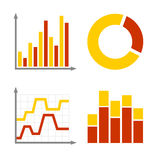 Red and Orange Business Graph Diagram Icons Set Stock Images