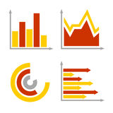 Red and Orange Business Graph Diagram Icons Set Stock Photo