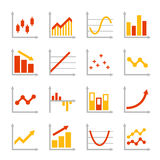 Red and Orange Business Graph Diagram Icons Set. Vector Royalty Free Stock Images