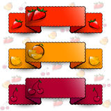 Red, orange and cherry ribbons Stock Photos