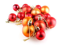 Red and orange christmas balls Royalty Free Stock Photo