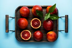 Red Orange Citrus fruit in a wooden tray. Citrus background Royalty Free Stock Photos