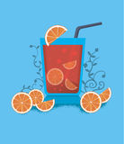 Red orange cocktail juice with bubbles. Royalty Free Stock Image