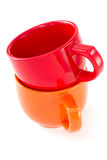 Red and orange cups Royalty Free Stock Images