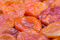 Red and orange dried apricots in close-up Stock Photo