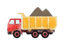 Red and orange dump truck Stock Photo