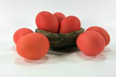 Red-Orange Easter Eggs Royalty Free Stock Photography