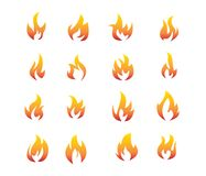 Red orange flaming fire clip art logo vector set. Template Royalty Free Stock Images