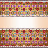 Red Orange Floral Card with gradient center band to add text, attached with white hearts broderie Royalty Free Stock Image