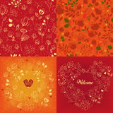 Red and orange floral patterns set stock photos