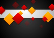 Red and orange geometric squares on black Stock Photography