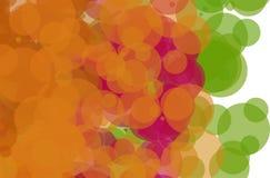Orange Red Green Splatter. Red, orange, and green bubbles, grunge background vector. Ink splatter, blots, spot elements. Watercolor paint splashes pattern, fluid Royalty Free Stock Images