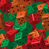 Red Orange Green Dice Seamless Pattern stock illustration